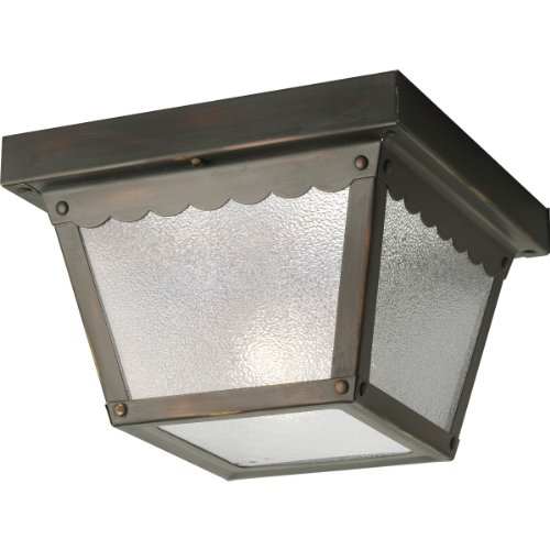 Outdoor Flush Mount Antique - Progress Lighting P5727-20 Metal Ceiling Light with Textured Glass, Antique Bronze