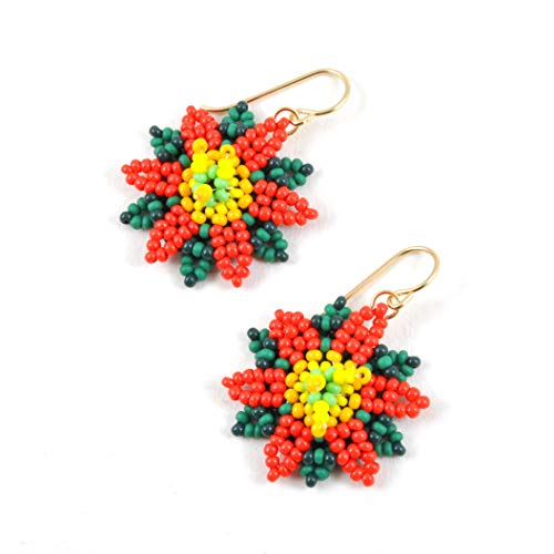 Poinsettia Beaded Art Earrings, Artisan Handcrafted and One of a Kind ()