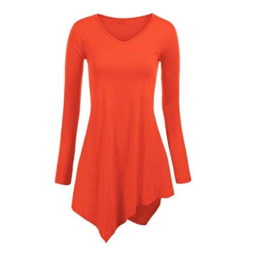 Golf Teddies (TAORE Womens Handkerchief Hem Long Sleeve Lightweight Pullover Tunic Top T-Shirts (XS, Orange))