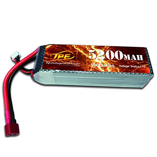 3Cell 11.1V Lipo Battery, High Discharge Lithium Polymer 50C 5200mAh RC Lipo Batteries Hard Case with Dean-Style T Connector for RC Vehicles Car, Trucks