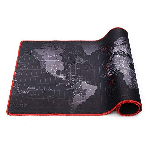 World Map Mouse Mat Gaming Mouse Mat Desk Pad Non-slip Rubber Base with Stitched Edges for Computer, PC and Laptop,Size 30 x 70CM