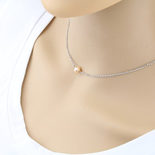 Simple Tiny Dainty Pearl Necklace - Small June Birthstone Pearl bar Choker for Womens, Heavy-duty