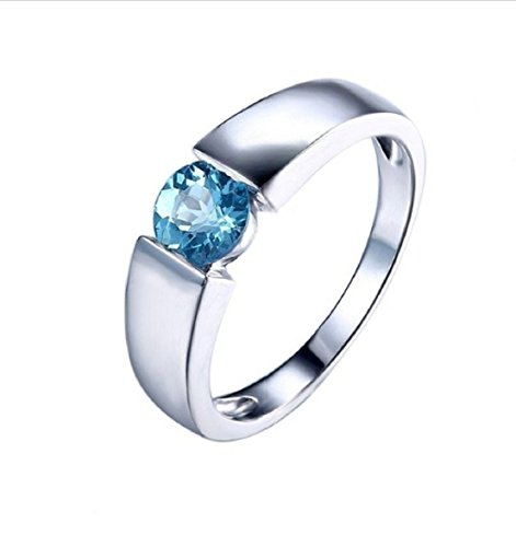 GOWE Solid 10K White Gold Tension Setting 5.5 Round Cut 1.1ct Blue Topaz Engagement Wedding Ring Fine Jewelry Gemstone Ring ()
