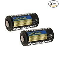 "Panasonic BAT002 x 2 CR123A Lithium 3V Photo Lithium Batteries , 0.67"" Dia x 1.36"" H (17.0 mm x 34.5 mm) , black, Gold, Blue (Pack of 2)"