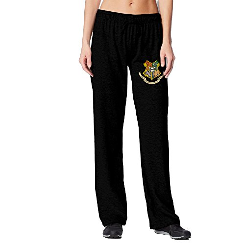 [Women's Harry Potter Hogwarts Logo Drawstring Jersey Sweatpants Black] (Hermione Granger Costume Casual)