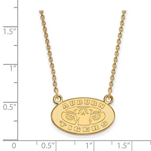 10k Yellow Gold Auburn University Tigers Oval Pendant Necklace S - (13 mm x 20 mm)