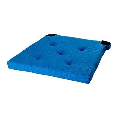 IKEA JUSTINA - cojín para silla, azul - 35/42 x 40 x 4,0 cm ...