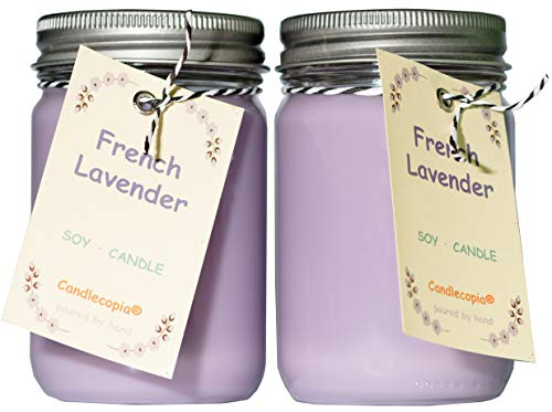Candlecopia French Lavender Strongly Scented Hand Poured Premium Soy Candles, 12 Ounce Pewter Lid Canning Jar x 2-Pack ()
