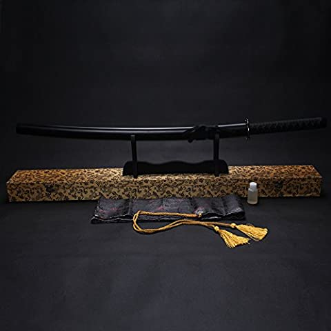 """Splendent Furniture 38"""" Handmade Japanese Full Tang Sword T1060 Carbon Steel Blade with Wooden Holder/Stand 4 Colors (Black Sheath & Yellow Box)"""