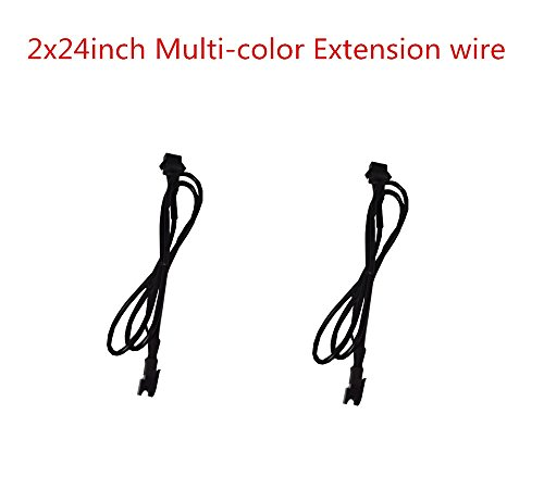 2pc 24inch Extension Cable Wire Cord Set for LED motorcycle ATV car Light Multi-color Neon Strip