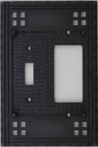 Arts & Crafts Mission Style Oil Rubbed Bronze Two Gang Switch Plate - One Toggle Light Switch Opening One GFI/Rocker Opening Crafts Mission Bronze Finish