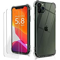 TPU iPhone 11 Pro Max Case Silicone Bumper with Free Tempered Glass Screen Protector Crystal Clear Case with 4 Corners…