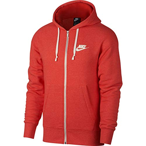Red Full Zip Hoodie - Nike Mens Heritage Full Zip Hoodie Habanero Red/Heather/Sail 928431-634 Size Medium