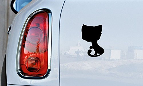 Cat Silhouette Cartoon Version 18 Car Vinyl Sticker Decal Bumper Sticker for Auto Cars Trucks Windshield Custom Walls Windows Ipad Macbook Laptop and More (BLACK)