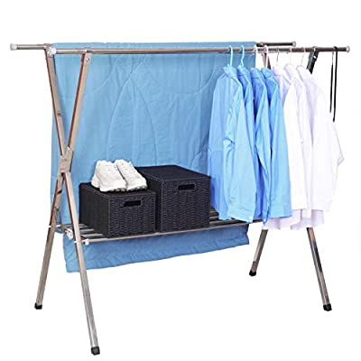 Reliancer Heavy duty Large Stainless Steel Clothes Drying Rack Foldable Space Saving Retractable Rack Hanger From 55.2 to 78.8 inches w/Shoe Rack - 【All Stainless Steel Construction】:The material including the fastenings is rust-proof stainless steel, perfect for indoor or outdoor drying, will not rust even under rainy environment 【Shoe Storage shelf&10 Hooks】: Designed with 1-Tier storage shelf, allow you to organize your shoes, place boxes organized with little things, and other items you like.10 hooks will go with the drying rack, help you hang your clothes 【Extensible Horizontal Rods】: Both Ends of rods can be extended from 55.2'' to 78.8'', the max size is 78.8x24.8x53.15 inch, add more room for longer garments like pants and long dresses - laundry-room, entryway-laundry-room, drying-racks - 41fLQEC55xL. SS400  -