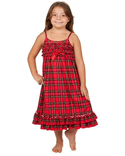 Laura Dare Little Girls Christmas Morning Holiday Plaid Strappy Nightgown, 3t