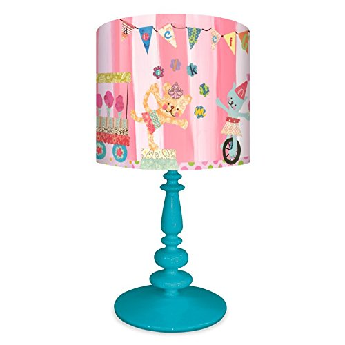 Circus Lamp - Oopsy Daisy NB14929 Cotton Candy Circus Alphabet on Resin Turquoise Base Table Lamp, 21