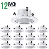 4'' Inch Stepped Baffle LED Trim, Bulb Light Cover, for 4 in. Recessed Ceiling Can, Line Voltage, Use with PAR16, PAR20 and R20 Bulbs, White, 12 Pack