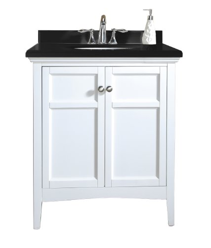 Ove Decors Campo 30 Bathroom 30-Inch Vanity Ensemble with Black Granite Countertop and Ceramic Basin, White