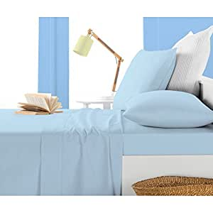 """Three {3} Piece Fitted Sheet 100% Egyptian Cotton 10"""" Deep Pocket { 650 TC }Solid Pattern Twin XXL Size in New Sky Blue color"""