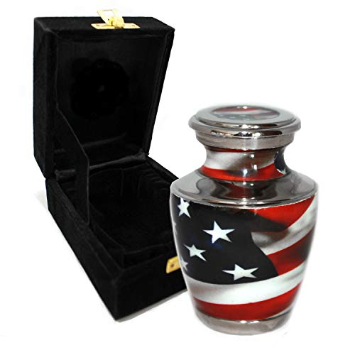 Flag Cremation Urns for Adult Ashes - for Funeral, Niche, Columbarium or Burial - Urns for Ashes - Large, Medium, Extra Large and Keepsake (American Flag, Small/Keepsake)