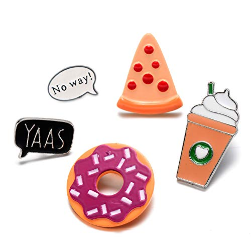 - OAONNEA 5 Pack Enamel Pin Set Cool No Way Speech Coffee Pizza Donuts Ice Cream Pins for Backpacks Jackets
