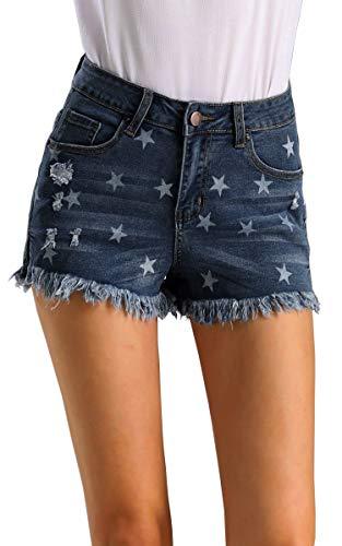 Hibluco Women's Star Print Summer Hot Denim Jean Shorts Frayed Tassel Hem Dark Blue (Jean Star Big Shorts)