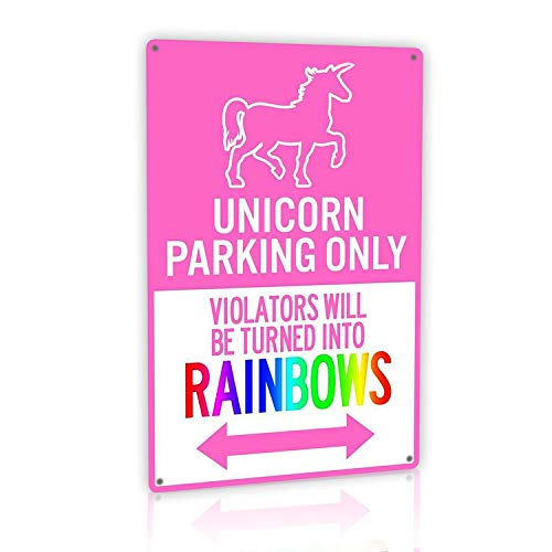 MMOUNT Tin Signs Vintage Parking Warns Offenders Will Become Rainbow Children Decoration Fun Metal Wall Sign12x8 - Only Sign Tin Parking