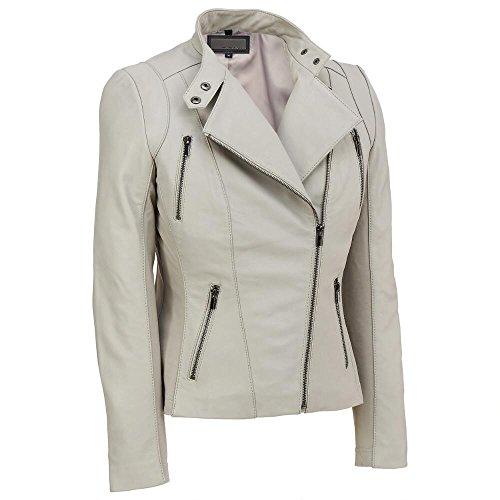 Wilsons Leather Womens Knit Inset Asymmetric Lamb Scuba W/ Zip (Detail Lamb Leather)
