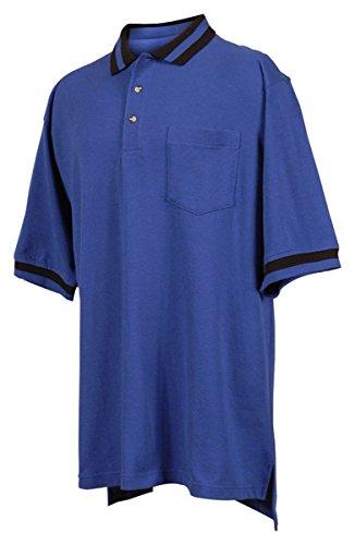 Tri Mountain 60 40 Pique Pocketed Golf Shirt With Trim    Royal   Black   Xlt