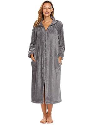 Ouyilu Women Long Sleeve Stand Collar Bathrobe Zip Fleece Robe With Pocket