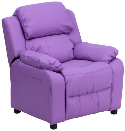 Flash Furniture Deluxe Padded Contemporary Lavender Vinyl Kids Recliner with Storage Arms by Flash Furniture