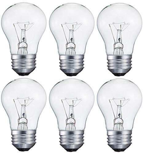 Oven Crystal ((6-Pack) 40-Watt Light Bulb for Appliance or Ceiling Fan, Incandescent, Crystal Clear, Dimmable, A15, Medium Standard Household Base E26, by Smart Value)