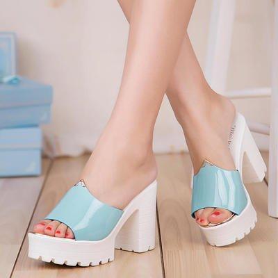 Moda De Sandalias Zapatillas De Tráiler 38 Mujer Pescado amp;FA Talón Boca Y Zapatillas Rosa blue LGK Zapatillas De Del Cool Tacones 35 T6xw755qn