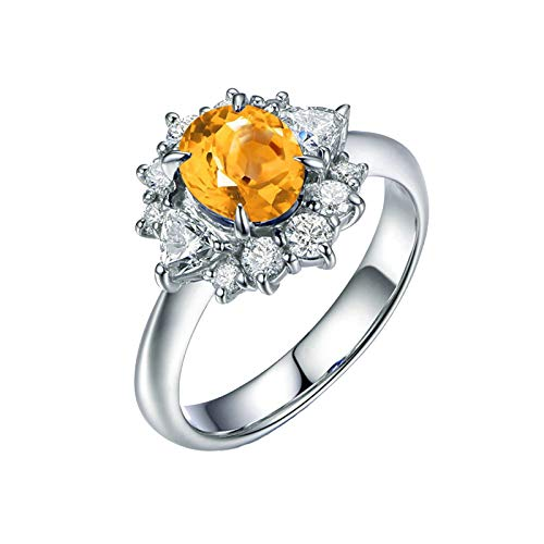 - KnSam Sterling Silver Jewelry Ring for Women Fashion Oval Shape Citrine 6x8MM Size 8.5
