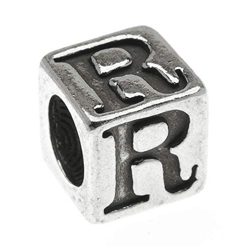 1 pc Sterling Silver Alphabet Cube Bead Letter 'R' 5.5mm x 5.4mm, 3.7mm Hole