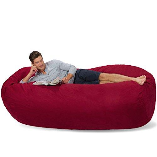 Merlot Bean Bag Chair - Comfy Sacks 7.5 ft Lounger Memory Foam Bean Bag Chair, Merlot Cords