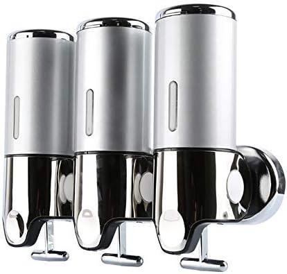 実用的な壁掛け3ヘッドソープディスペンサー、500 ML 3ポンプヘッドハンドサニタイザーボトル、バスルームでの手動操作用、設置が簡単