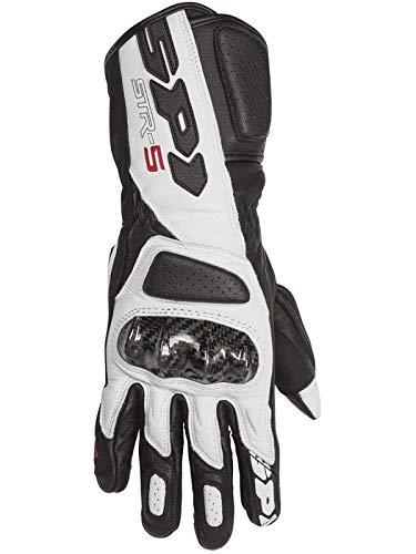 Spidi Gloves - Spidi Black White Str-5 Ce Motorcycle Leather Gloves (L, Black)