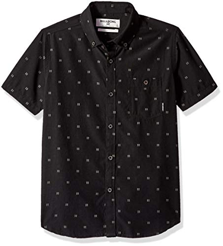 Billabong Boys' All Day Jacquard Short Sleeve Shirt Black Medium