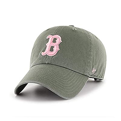 '47 Brand Boston Red Sox Clean Up Hat Cap Moss Green/Pink