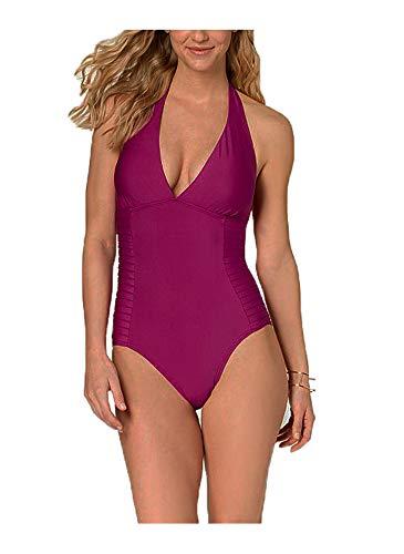 Calvin Klein Side-Pleated Halter One-Piece Womens Swimsuit (Solid Purple, 8) Calvin Klein Womens Swimwear