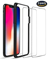 iPhone X Screen Protectors [Case Friendly] [2-Pack], ALCLAP iPhone X 0.25mm Clear Tempered Glass Screen Protector 3D Touch Film with Easy Installation Guide Frame, Work with iPhone X/10 Cases by ALCLAP