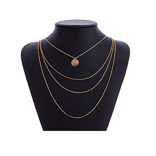 Multi-Layer Disc Coin Necklace Pendant Simple Geometric Circle Round Beads Chain Necklace Choker Jewelry for Women Girls(Gold)