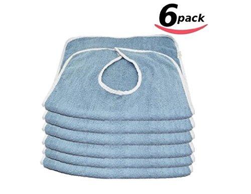 Head2Toe Adult Bibs, Terry Cloth W/Velcro Closure - 6PK Blue