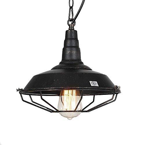 Vintage Pendant Lights, Hebolen Industrial Black Metal Edison Pendant Light For Bar Loft Barnyard Farmhouse 1 Light Hardwired Ceiling Pendant ()