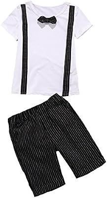 96a150e27 GladiolusA Conjunto De Ropa Bebe Niño Camiseta + Pantalones Cortos + Correa  Blanco Negro /140. Cargando imágenes.