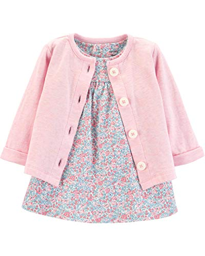 Carter's Baby Girls 2-Piece Bodysuit Dress and Cardigan Sets (Pink/Heather Floral, 9 ()