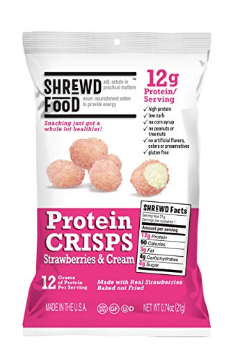 Shrewd Food Strawberries and Cream Protein Crisps 8 Pack | High Protein, Low Carb, Gluten Free Snacks | No Artificial Flavors | Soy Free, Peanut Free]()