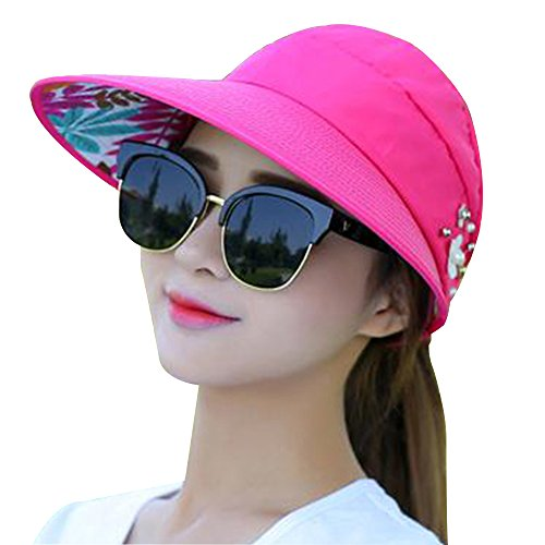 Leaf Pattern Imitation Pearl Foldable Sun Cap For Women